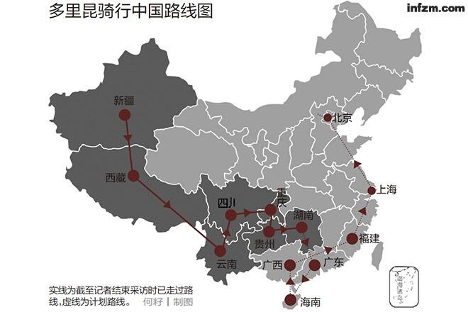 中国 多里/实线为截至记者结束采访时已走过路线,虚线为计划路线。(何籽/...