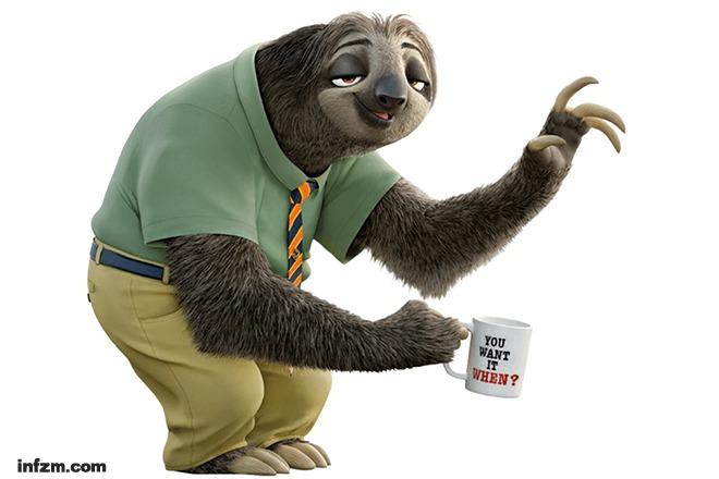 树懒是《疯狂动物城》最有喜感的角色