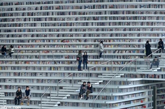 图为市民们在天津滨海图书馆内阅读.
