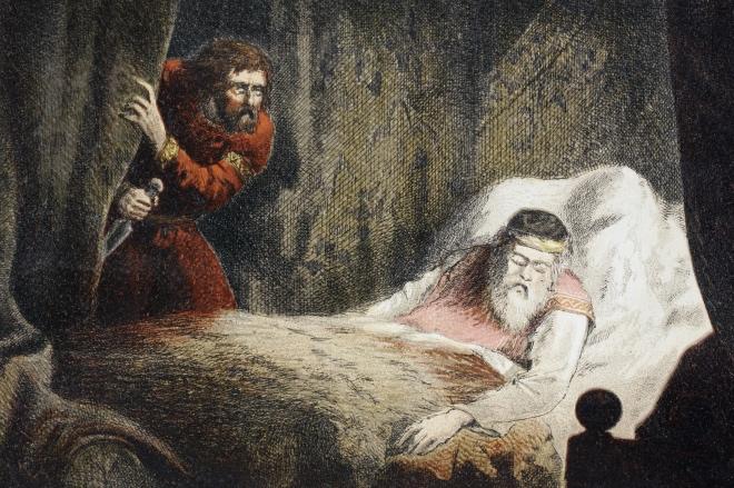 《圈套》画家绘制和蚀刻的麦克白谋杀苏格兰国王场景。
