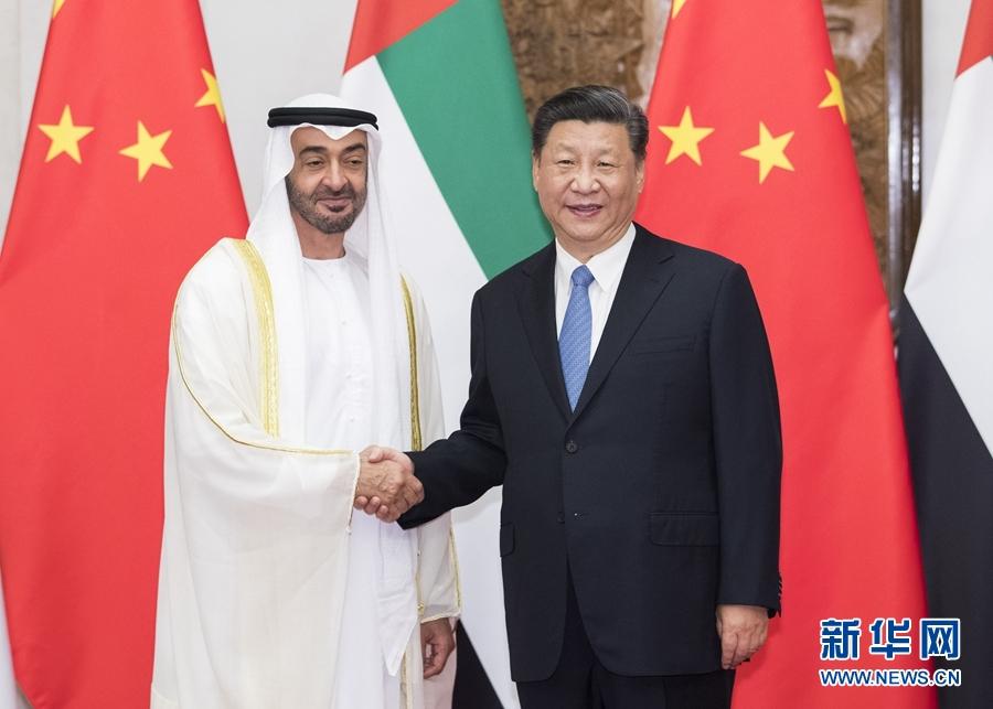 7月22日,国家主席习近平在北京钓鱼台国宾馆再次会见来华进行国事访问的阿联酋阿布扎比王储穆罕默德。 新华社记者 黄敬文 摄