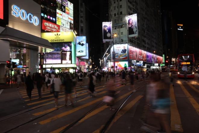 2019年8月15日,香港铜锣湾崇光百货商圈外,横过马路的人流量大不如前。