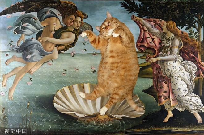 """《艺术质量与猫咪秤砣》该问题之所以能引起争议,不是因为猫之简单,而是因为画之复杂,是因为笼统而论的""""艺术价值""""可大可小。图为一位艺术家,把猫咪的照片嵌入名画中的作品。"""