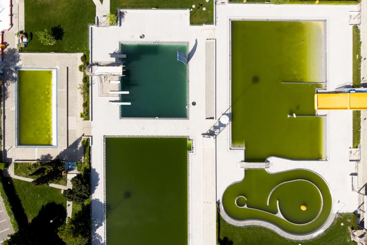 游泳池水無人打理變渾濁